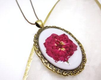 Pressed Flower Necklace - Rose