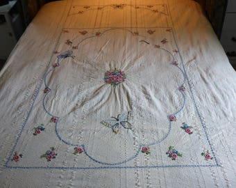 "Vintage Hand Embroidered Cotton Bedspread - 86"" X 74"""