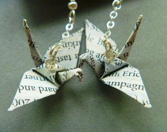 Unique Origami Crane Word-Bird Earrings–FREE SHIPPING– champagne beach recycled-upcycled-reclaimed-renewed-repurposed paper #e717 marlisa