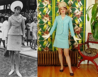 Mod 60's Windowpane Miniskirt Suit . Turquoise & White Cotton .  Jean Shrimpton / Melbourne Cup 65 . Classic Carnaby St to High Fashion .