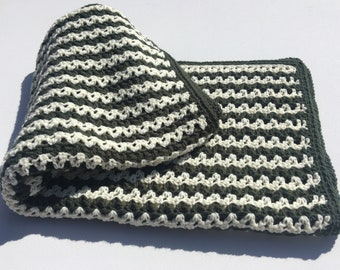 Green and White Striped Blanket