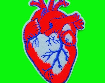 BACK IN STOCK Anatomical Heart Medical Marvel Red and Blue or Grey Scale Fully Embroidered Iron or Sew On Patch New Size!