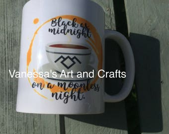 Twin peaks inspired mug quote black as midnight on a moonless night gift idea