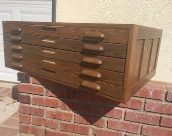 Vintage blueprint etsy vintage hamilton file blueprint oak wood cabinet malvernweather Images