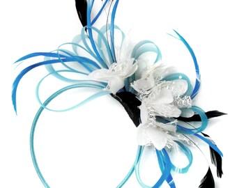 Aqua and White Black Net Hoop & Feathers Fascinator On Headband