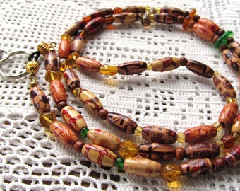 Badge or Eyeglass Lanyard, in Lightweight  Bamboo and Glass Beads