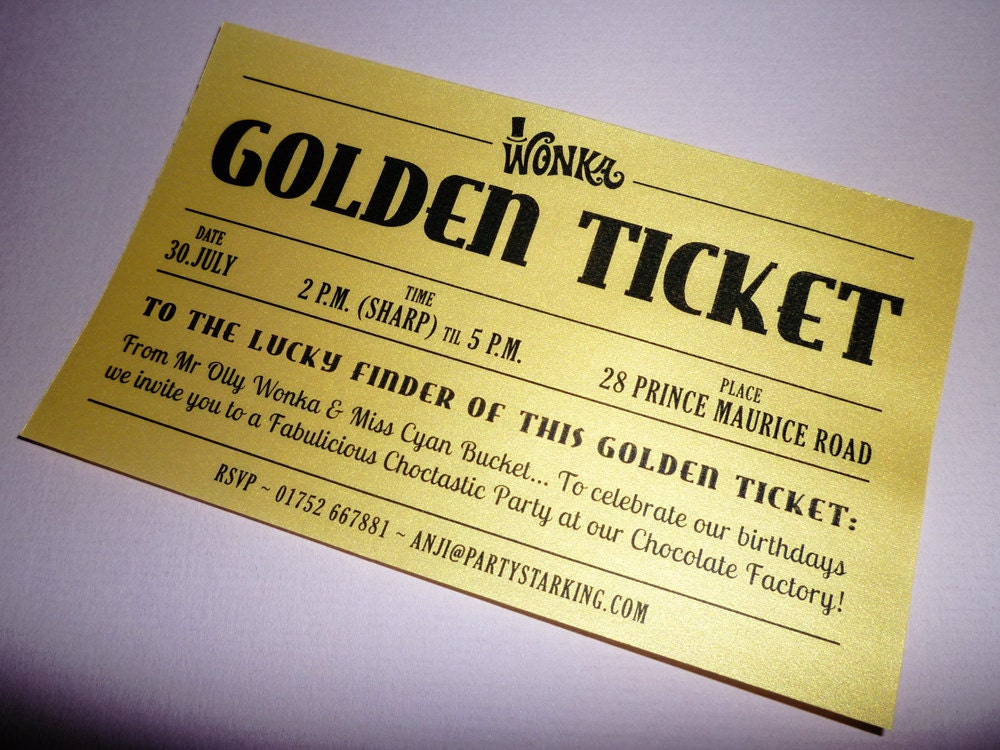 Golden Ticket party invitations printed Golden Ticket wedding