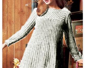 Knitting DRESS Pattern Vintage 60s Long Sleeve Dress Pattern