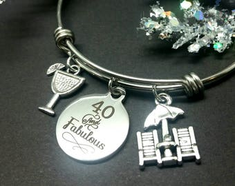 40 and Fabulous - Over the Hill - 40th birthday - birthday gift - 40th birthday gift - Birthday bangle bracelet - personalized birthday