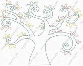 Family Tree Redwork Stitched Embroidery Design - Instant download