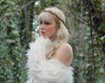 Gold rustic love hair wreath, woodland wreath, wedding hairband