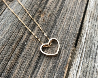 Heart Necklace -- Love Necklace -- Mothers Day Necklace -- Gold Heart Necklace -- Gold Heart-- Gold Necklace
