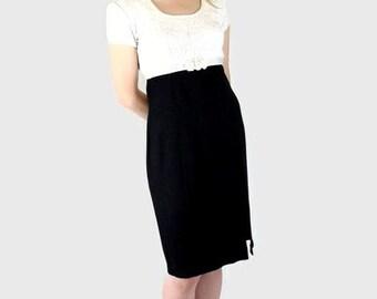 Black / White Wiggle Dress, Vintage 1980's Party Dress, Modern Size 8, Small