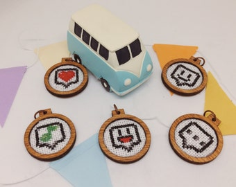 Cross stitch embroidered wooden pendant/xmas ornament/charm - emojis