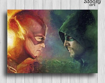 the flash and green arrow print superhero wall art justice league poster dc comics