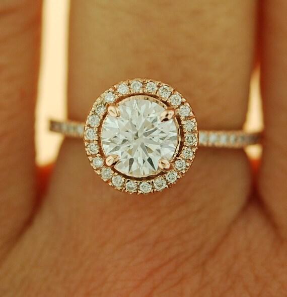 Eidelprecious engagement ring Diamond engagement ring Rose gold engagement ring 1.05ct  D/VS1 round diamond ring 14k diamond halo ring