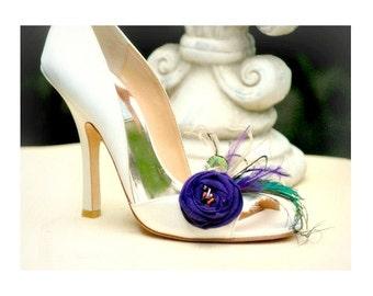 Purple Shoe Clips Statement Winter Fashion. Handmade Couture Bride Bridesmaid Pin. Emerald Tan Teal Tangerine Orange Bead, Elegant Heel Gift