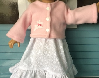 18 inch Doll Clothes - Lace and Pink Easter Dress and Jacket - Bunnies
