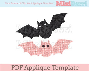 Applique Template Bats PDF - 2 Different Designs in 1 File