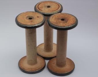 "7"" metal bound North England cotton mill industrial vintage antique weaving mill bobbins, 1920's, original patina, 3.5"" diameter ends."