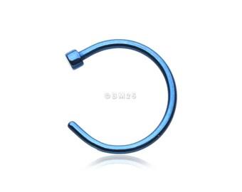 Colorline Basic Nose Hoop Ring - Blue