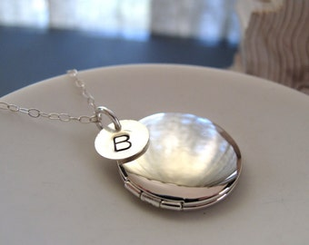 Silver Initial Necklace Locket, Small Silver Locket, Sterling Silver Chain, Personalized Jewelry Hand Stamped Initial - MONOGRAM