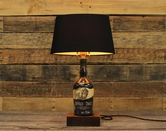 Buffalo Trace Bourbon Bottle Lamp  Whiskey Light, Bourbon Barrel Char, Reclaimed Wood Base, Father's Day Gift, Whiskey Bottle, Whiskey Gift