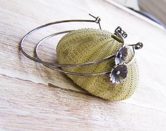 BIG Flower Hoop Earrings, Oxidized Hoops, Dark Hoops, Thick Silver Hoops, Lever Style Hoops, Boho Flower Hoops