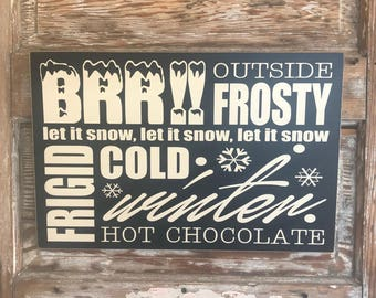 Winter Subway Sign.   Baby Its Cold Outside!   18x12 wood sign