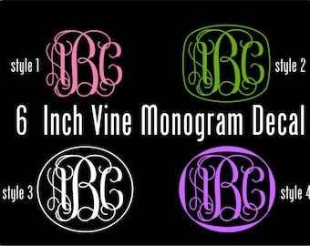 Vinyl Monogram Decal - 6 Inch Personalized Vinyl Decal -Vine Monogram Vinyl Car Window Decal -