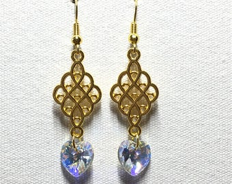 Gold chandelier earrings with crystal AB Swarovski heart charm