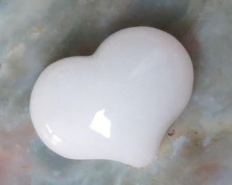 White Jade Puffy Heart Worry Healing Stone!