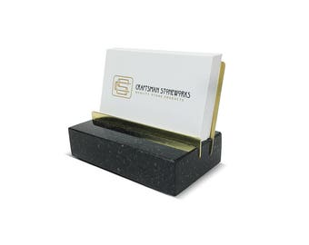 Brass and Granite Business Card Holder - Black Absolute Granite - Office Desk Home, Recycled Granite, Metal Series