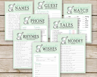 Green Elephant Baby Shower Games Package - EIGHT printable Mint Baby Shower Games - Nursery Rhymes, Mommy Best, Baby Wish - Instant Download