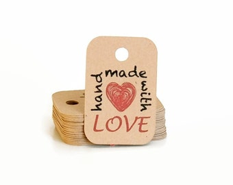 Hang Tags / Kraft Tags / Mini Hang Tag / Gift Tags / Handmade with Love Gift Tags / Spring Gift Tags