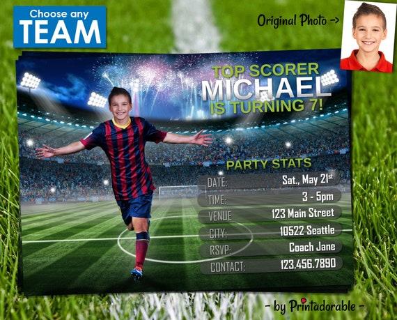 Soccer Invitation - Football Invitation - Soccer Invite - Football Invite - Barcelona Invite - World Cup Invite - World Cup Invitation