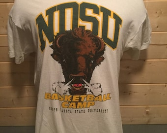 Vintage 1980's NDSU Bison Basketball Camp Mountain Dew Double Sided 50/50 Cartoon Shirt