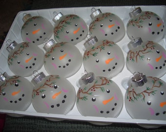 12 Hand painted xmas Sno-Man ornaments in box,,2 1/2""