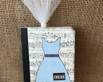Altered Mini Composition Book with clip