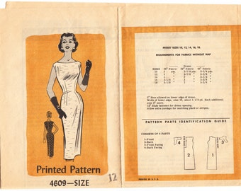 Vintage 1957 Mail Order 4609  Sewing Pattern Misses' One-Piece Dress Size 12 Bust 32