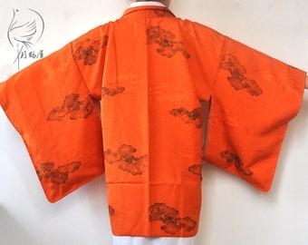 Orange silk kimono jacket haori/japanese short kimono robe/kimono cardigan top/unused silk jacket/boho bohemian top/gift for her