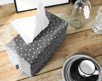 Star Polka Dot Denim Fabric Rectangle Tissue Box Cover Tissue Cover Kleenex Box Cover Wedding Gift Shower Gift Office Decor Under 10 Gift