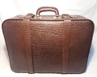 Vintage 1960's Dark Brown Leather,, Crocodile Skin Effect '' Suitcase