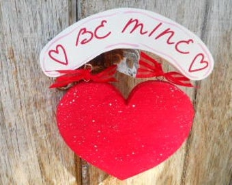 Valentine Red Be Mine Heart with Banner