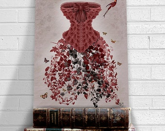 Woodland Corset  - Romantic Art Romantic gift for wife Whimsical décor Whimsical art butterfly print woodland art woodland theme print