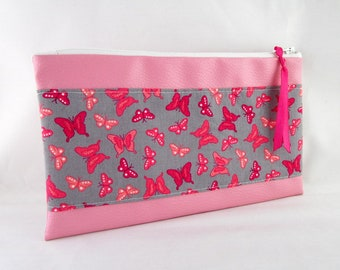 Flat clutch pink faux leather and fabric butterflies