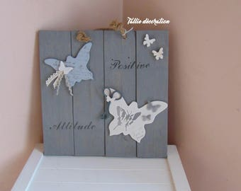 Pallet wood table, home decor, quote: positive attitude