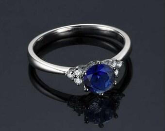Round Blue Sapphire Engagement Ring 14k White Gold Art Deco Blue Sapphire Ring Handmade Anniversary Ring September Birthstone