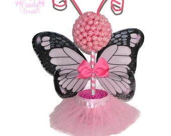 Pink Butterfly Fairy Princess Lollipop Topiary, Pink Fairy Candy Centerpiece, Butterfly Baby Shower, Fairy Baby Shower, Pink Candy Topiary