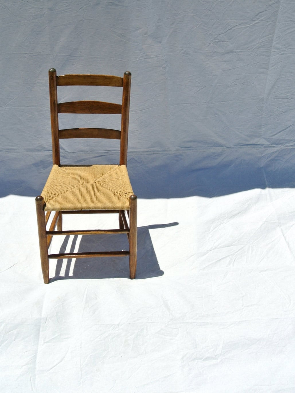 Antique Rustic Ladder Back Chair Small with Woven Rush Seat